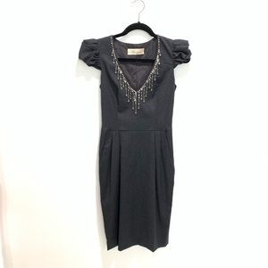 Blumarine Grey Wool Cocktail Dress Crystal Neck